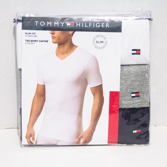 neue niedrigere Preise 2019 rabatt verkauf Top-Mode Tommy Hilfiger 3 Pack Mens Slim Fit V Neck Tees NWT